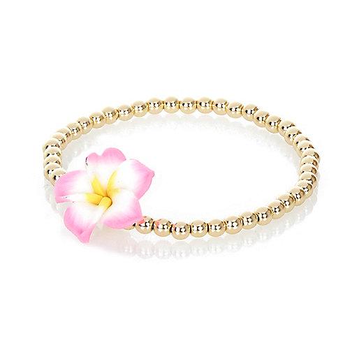 Gold tone floral bead bracelet