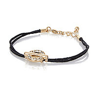 Black encrusted disc friendship bracelet