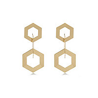 Gold tone triple hexagon drop earrings