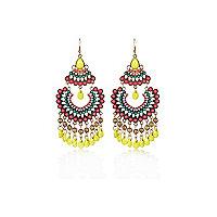 Pink tribal embellished dangle earrings