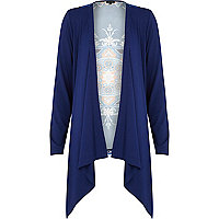 Blue woven back print waterfall cardigan