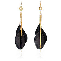Black feather dangle earrings