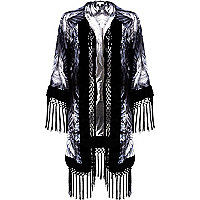 Grey feather print fringed kimono