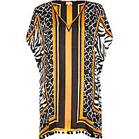 Orange zebra print kaftan