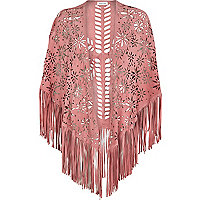 Pink laser cut suede fringed cape