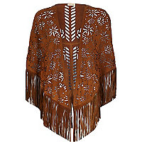 Tan laser cut suede fringed cape
