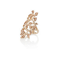 Gold tone elongated floral ring