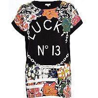 Black Lucky No 13 floral print t-shirt