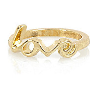 Gold tone finger top love midi ring
