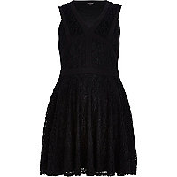 Black lace panel skater dress