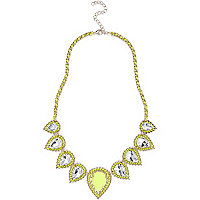 Fluro yellow embellished statement necklace