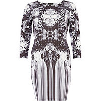 Grey mirrored floral print bodycon dress