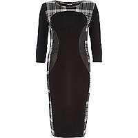Black check panel bodycon midi dress