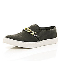 Black curb chain trim slip on trainers