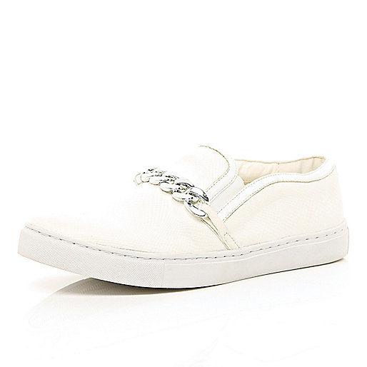 White curb chain trim slip on trainers
