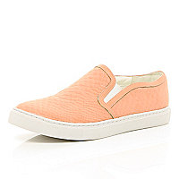 Coral snake textured slip on trainers