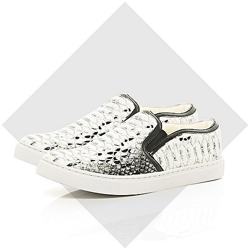 Grey snake print slip on trainers