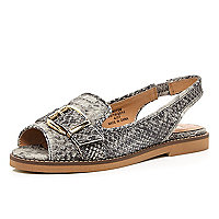 Grey snake buckle trim loafer sandals