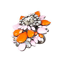 Orange and pink gem stone statement ring