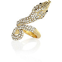 Gold tone diamante encrusted snake ring