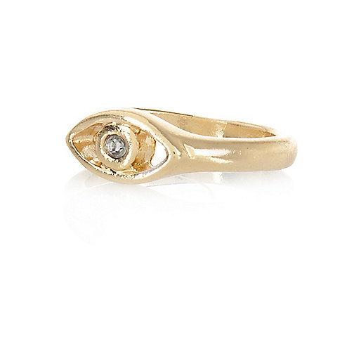 Gold tone diamante eye midi ring
