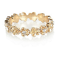 Gold tone diamante flower thumb ring