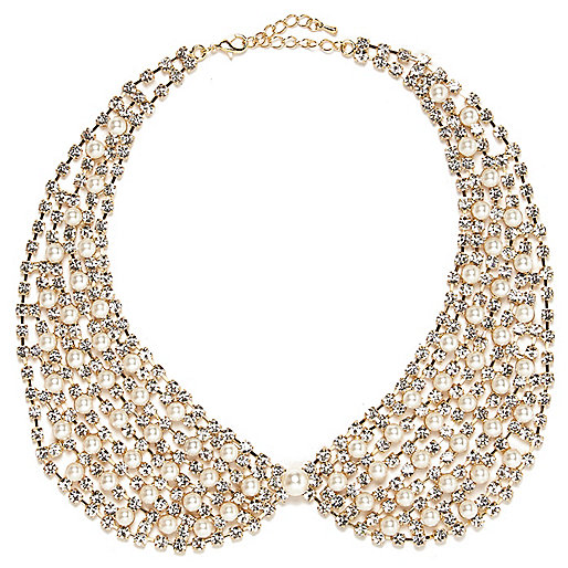 Gold tone faux pearl collar necklace