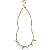 White rose and spike repeat necklace