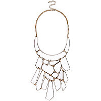 White jigsaw chain statement necklace