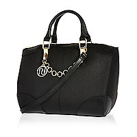 Black chain trim bowler bag
