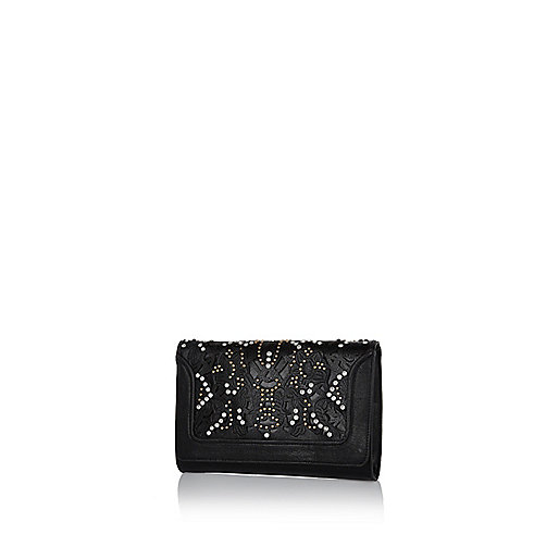 Black laser cut studded clutch bag