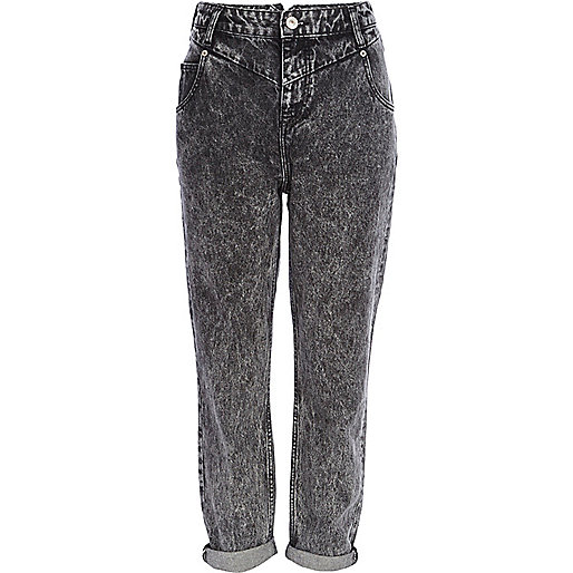 Black acid wash slim Mom jeans