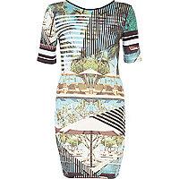 Blue poolside stripe print bodycon dress