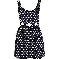 Navy polka dot cut out playsuit