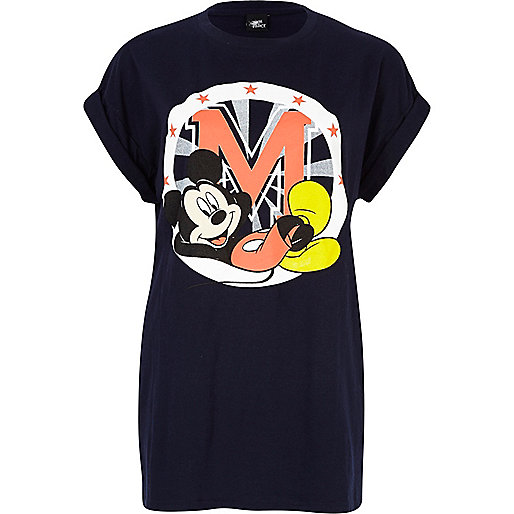 Navy Mickey Mouse print oversized t-shirt