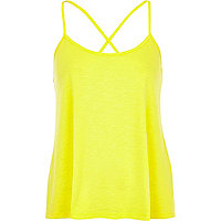 Bright yellow cross back cami top