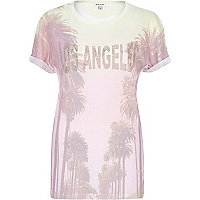 Light pink Los Angeles palm tree t-shirt