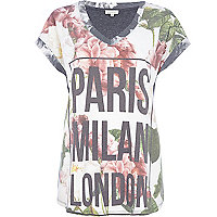 Grey floral Paris London Milan print t-shirt