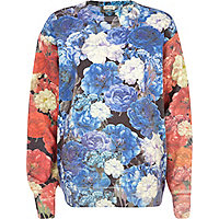 Blue floral colour block sweatshirt