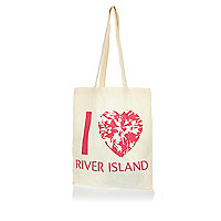 Beige I heart RI shopper tote