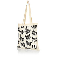 Beige cat print shopper tote