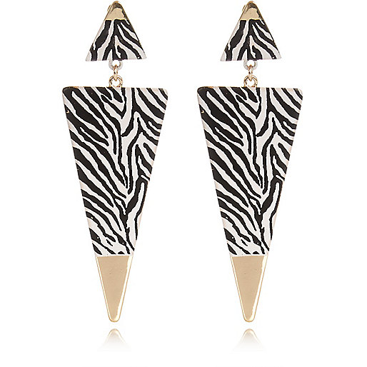 Black zebra print triangle drop earrings