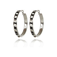Black zebra print studded hoop earrings