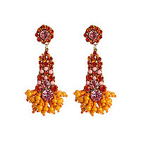 Orange beaded drop earrings