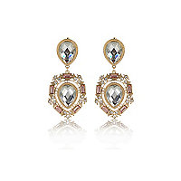 Gold tone teardrop gem stone earrings