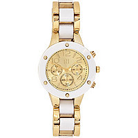 Gold tone two-tone bracelet watch