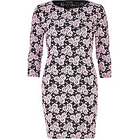 Pink daisy jacquard bodycon dress