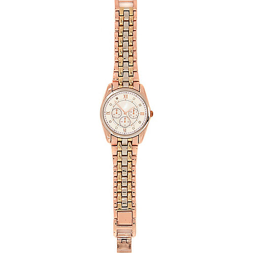 Rose gold tone tri-tone metal bracelet watch