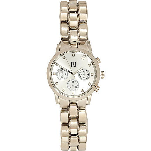Silver tone round oversize bracelet watch
