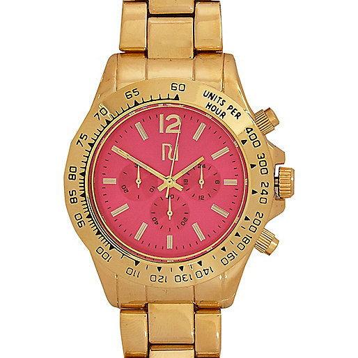 Gold tone pink face bracelet watch